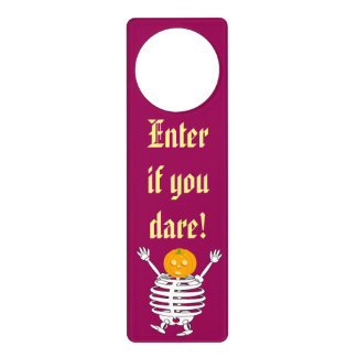 Cute fun cartoon of a pumpkin headed skeleton, door hanger
