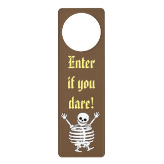 Cute fun cartoon of a scary Halloween skeleton, Door Hanger
