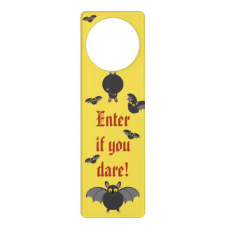 Cute fun cartoon of Halloween black vampire bats, Door Hanger