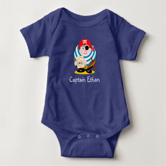 Cute fun cartoon pirate holding a treasure map, baby bodysuit