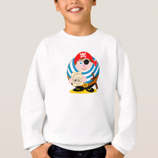 Cute fun cartoon pirate holding a treasure map, sweatshirt