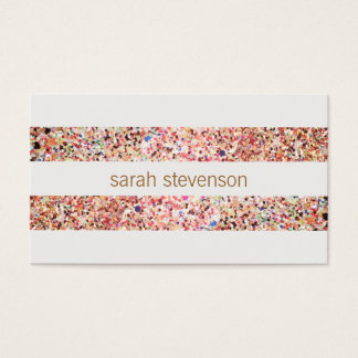 Cute Fun Colorful Confetti Stripes Business Card
