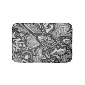 Cute Fun Funky Bold Whimsical Shapes-Abstract Art Bath Mat