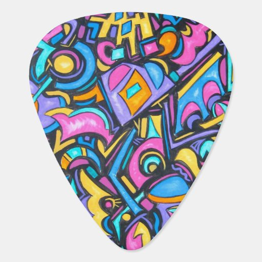 Cute Fun Funky Colorful Bold Whimsical Shapes Guitar Pick