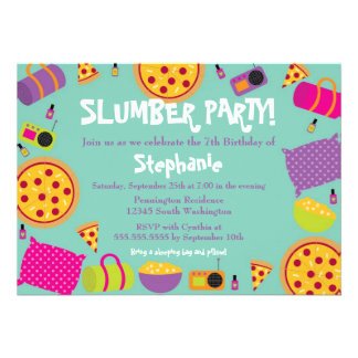 Cute fun girl s birthday slumber party invitation