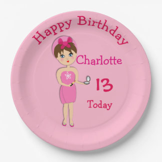 Cute Fun Girly Pamper Spa Party Theme For Girls Paper Plate