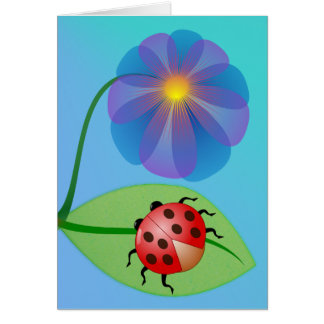Cute, Fun Ladybug and Flower Thank You Greeting Card