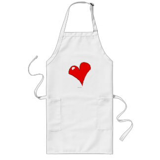 Cute Fun Love of Cooking Grilling Red Heart Long Apron