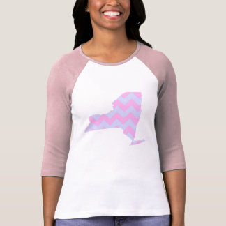 Cute Fun Pastel Blue and Pink Chevron New York T-shirt
