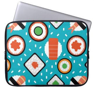 Cute fun seamless pixel sushi cartoon pattern laptop sleeve
