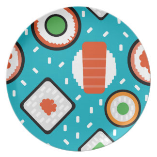 Cute fun seamless pixel sushi cartoon pattern plate