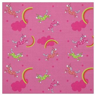 Cute Fun Unicorns rainbow pink cartoon pattern Fabric