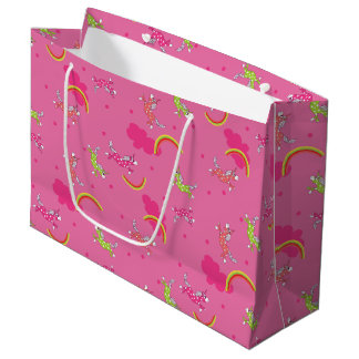 Cute Fun Unicorns rainbow pink cartoon pattern Large Gift Bag