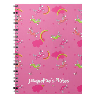 Cute Fun Unicorns rainbow pink cartoon pattern Notebook