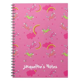 Cute Fun Unicorns rainbow pink cartoon pattern Notebooks