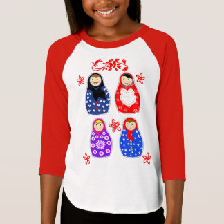 Cute Fun Whimsy Matryoshka Russian Dolls Graphic T-Shirt