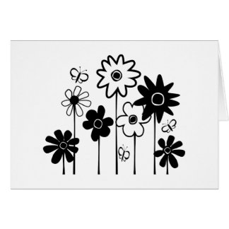 Cute Funky Assorted Flowers With Butterflies Card