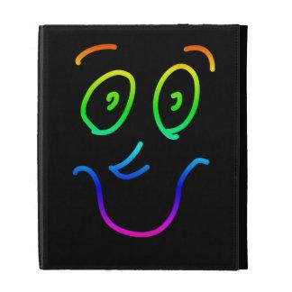 Cute Funky Colorful Rainbow Smiley Face iPad Folio Case