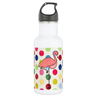Cute Funky Flamingos Colorful Polka Dots 532 Ml Water Bottle