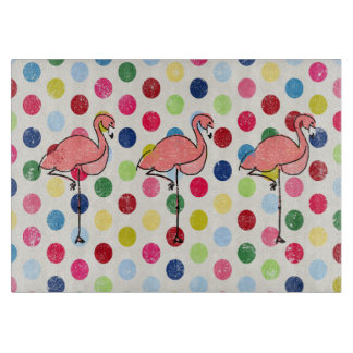 Cute Funky Flamingos Colorful Polka Dots Cutting Board