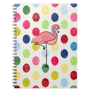 Cute Funky Flamingos Colorful Polka Dots Notebooks
