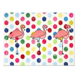 Cute Funky Flamingos Colorful Polka Dots Photograph