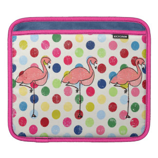 Cute Funky Flamingos Colorful Polka Dots Sleeves For iPads