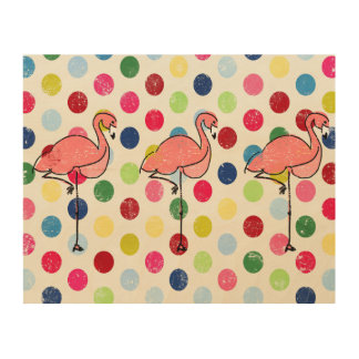 Cute Funky Flamingos Colorful Polka Dots Wood Print