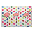 Cute Funky Flamingos Colourful Polka Dots Placemat