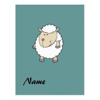 Cute funny adorable sheep monogram post card