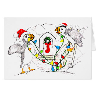Cute Funny Alaska Puffin Wildlife Christmas Card