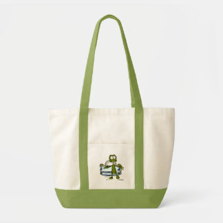 Cute funny alien and spacecraft 1 canvas bag