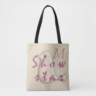 Cute Funny Bird Monogrammed Show  Star Tote