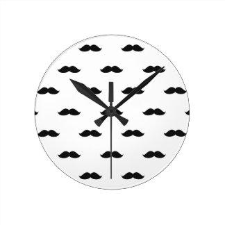 Cute Funny Black Mustache Round Clock