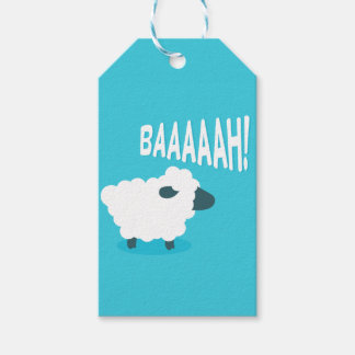 Cute funny blue cartoon bleating sheep gift tags