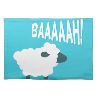 Cute funny blue cartoon bleating sheep placemat