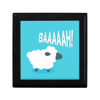 Cute funny blue cartoon bleating sheep small square gift box