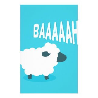 Cute funny blue cartoon bleating sheep stationery