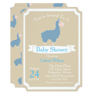 Cute Funny Blue Llama Baby Boy Baby Shower Card