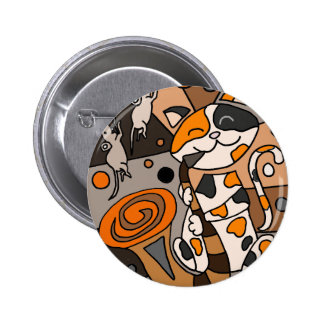 Cute Funny Calico Cat Playing Saxophone Art 6 Cm Round Badge