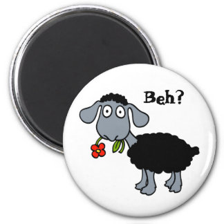 Cute Funny Cartoon Black Sheep Flower Customisable Magnet