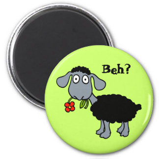 Cute Funny Cartoon Black Sheep with Flower 6 Cm Round Magnet