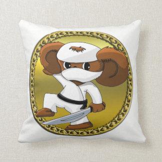 Cute funny cartoon Cheburashka bear with a sword Cushion