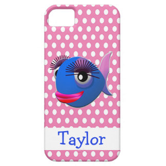 Cute Funny Cartoon Fish Personalized Pink iPhone 5 Cover
