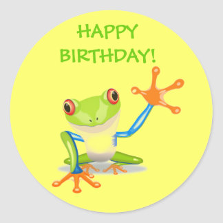 Cute Funny Cartoon Frog Kids Happy Birthday Party Round Sticker