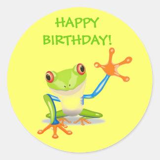 Cute Funny Cartoon Frog Kids Happy Birthday Party Round Sticker