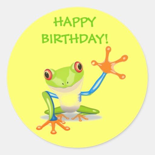 Cute Funny Cartoon Frog Kids Happy Birthday Party Round