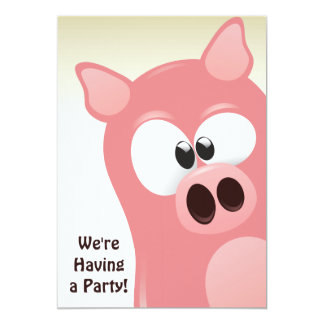 Cute Funny Cartoon Pink Pig Birthday Invitation