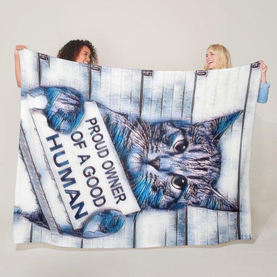 Cute Funny Cat Owner Plush Airbrush Art Fleece Blanket
