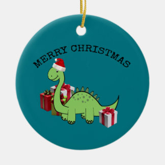 Cute funny  Christmas Santa dinosaur Ceramic Ornament